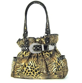Animal Print Belted Western Rhinestone Buckle Purse Leopard Zebra Cheetah